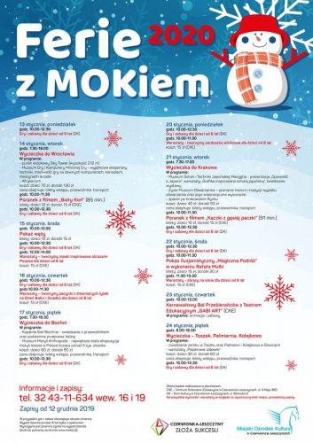 Oferta Miejskiego Ośrodka Kultury dla dzieci i młodzieży na czas ferii 2020.